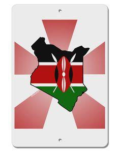 "Kenya Flag Design Aluminum 8 x 12"" Sign"