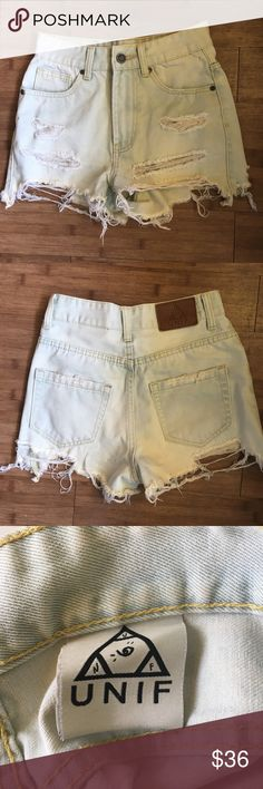 "UNIF High Waisted Distressed Cutoffs Super distressed / destroyed cutoff shorts from UNIF. Very light wash. Excellent pre-owned condition. No flaws. Approximate measurements: 12"" wide waistband 11"" rise 2"" inseam UNIF Shorts Jean Shorts"