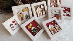 ceramica come mestiere: Piccoli quadri natalizi. Renna, albero, pupazzo di neve, casette innevate.