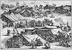 30 Years' War Encampment. Tents are rather rough affairs, but the improvised shanties are interesting.