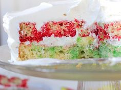 Raspberry Lime Poke Cake (will make this for Eric this summer - he loves Jello cakes)