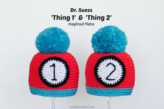 Thing 1 and Thing 2 Inspired Baby Hat - Free Crochet Pattern