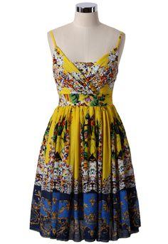 Retro Garden Pleated Dress with Baroque Hem