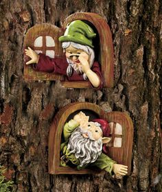 Set of 2 Window Gnomes Magical gnomes belong in every yard! Not the usual standing figurines, these gnomes are adorable tree decor. In the set of 2 Window Gnomes, a woman x x is calling down to a man x x who i. Fairy Garden Houses, Gnome Garden, Lawn And Garden, Fairy Gardens, Garden Bed, Gnome Village, Gnome House, Deco Floral, Fairy Garden Accessories