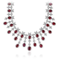 Oval Ruby and Diamond Necklace in 18k White Gold $59000