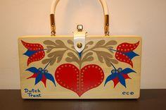 Enid Collins Dutch Treat box bag, red, blue, brown