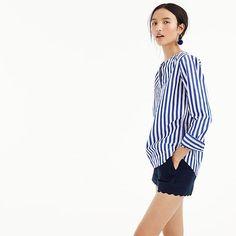 women's tunic in bold stripe cotton poplin - women's shirts