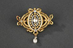 cool GAUTRAIT - Broche en or, émail, diamants, perles - Vers 1910