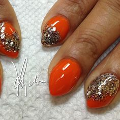 .@acrylicsbyamelia | Tammy Taylor colored acrylic over natural nails... Orange acrylic over entire... | Webstagram - the best Instagram viewer