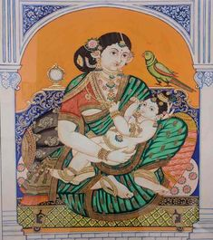 REVIVAL – Karnataka Chitrakala Parishath Yashoda Krishna, Krishna Hindu, Mysore Painting, Madhubani Painting, Traditional Paintings, Traditional Art, Bhagavata Purana, Temple India, The Mahabharata