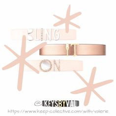 Keep of the Day: Bling it On - Single Leather Band, Aviator, Silver Letters, Birthstone Pave, Gold Glass, Gold Tau, Pave Mother of Pearl Disc in Rose Gold, Pave Rose Gold N