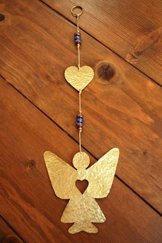 Gold Angel and Heart Decor Garland  Gift for Her  by CarmelsArt