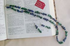 Necklace and earring set lapis lazuli and African by KCDesignsshop, $55.00