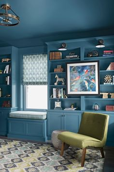 Impactful Blue Walls and Ceiling