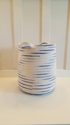 Extra Large Blue and White Ikat Dyed Rope Basket by PrairieStMercantile on Etsy https://www.etsy.com/listing/512639358/extra-large-blue-and-white-ikat-dyed