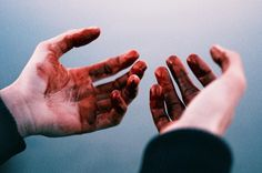 she looked at the blood smeared on her hands, shaking. she had just killed her…