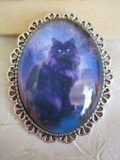 """Broche métal argenté et céramique """"Un superbe chat noir"""" de la boutique framboisefrancoise sur Etsy"""
