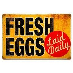 This Fresh Eggs Laid Daily Vintage Farm Metal Sign is a great choice for any farmer's kitchen or breakfast diner wall decor! 12 x 18 in. Daily Farm, Gallus Gallus Domesticus, Vintage Metal Signs, Antique Signs, Chickens And Roosters, Rabbits, Art Deco, Chicken Eggs, Chicken Pen