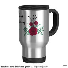 Beautiful hand drawn red green flower boutineer 15 oz stainless steel travel mug