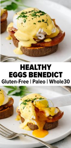 Recipes Gluten Free Yes, Eggs Benedict that's healthy! Sweet potato toast is topped with Canadian bacon, poached eggs and a drizzle of creamy hollandaise sauce. It's perfect for breakfast or brunch – plus it's gluten-free, paleo and compliant!