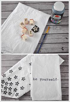 DIY Stamped Tea Towels   Vicky Barone