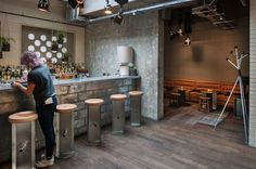 Ace Hotel London Shoreditch hangs its hat in London's most creative, engaged district, with a rooftop bar, comfy beds and an underground music venue. Ace Hotel London, Small Boutique Hotels, Lobby Bar, Contemporary Bar, Bar Interior, East London, Hostel, Public Spaces, June