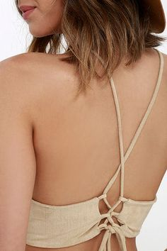 Slick Chick Beige Suede Crop Top at Lulus.com!