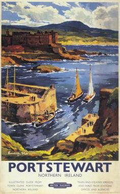 Irish Travel Art Poster, Portstewart County Derry, Northern Ireland