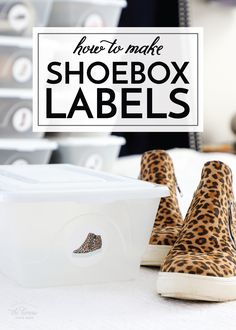 How to Make Shoebox Labels | The Homes I Have Made Craft Projects For Kids, Diy Crafts For Kids, Diy Projects, Spice Jar Labels, Pantry Labels, Clear Plastic Shoe Boxes, Organization Hacks, Organizing Tips, Diy Home Decor Bedroom