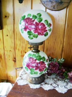 Victorian Parlor Lamp Kerosene Converted to Electric Milk Glass Lamp Hand Painted Roses Gorgeous