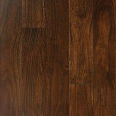 """Show details for Nuvelle Bordeaux Acacia Aztec Tan- 5"""", Dark brown floor, red floor, handscraped floor, engineered floor, acacia hardwood, antiqued floor, vintage floor, floor idea, floor trend, wide plank floor"""