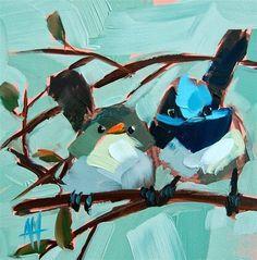 """Fairy Wrens Painting"" - Original Fine Art for Sale - � Angela Moulton"