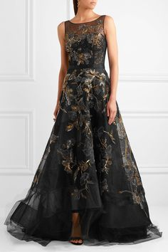 Black and gold tulle and lace  Concealed hook and zip fastening at back 100% nylon; lining1: 80% nylon, 20% polyester; lining2: 92% silk, 8% spandex; lining3: 100% silk Dry cleanSmall to size. See Size & Fit notes.