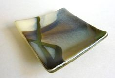 Small Glass Ring Dish in Streaky French Vanilla, Aqua and Brown Fused Glass