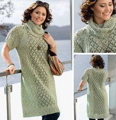 Платье больших размеров - схема вязания спицами. Вяжем Платья на Verena.ru