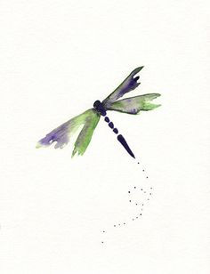 Beauty Fly/Dragon Fly/Purple, Green, dragonfly watercolor/. $20,00, via Etsy.