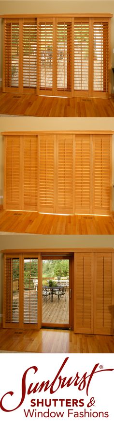 A more sophisticated look for sliding glass doors. Dress them up with a set of custom Ovation wood Shutters!
