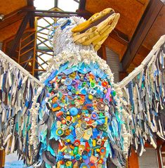 """From """"Washed Ashore,"""" a sculpture series by lead artist Angela Haseltine Pozzi + volunteers that repurposes plastic items washed upon Oregon shores 