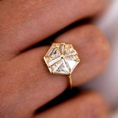 Hexagon Engagement Ring with Cluster of Diamonds – ARTEMER #Vintage