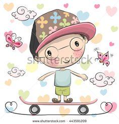 Cute Cartoon Boy with a cap on a skateboard and butterflies