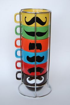 Multi Color Mustache Coffee Mugs - set of 6 stackable mugs and chrome holder $36.00