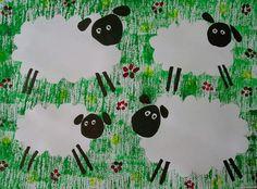 Ovečky v trávě – Art Drawings For Kids, Drawing For Kids, Art For Kids, Preschool Crafts, Easter Crafts, Diy And Crafts, Crafts For Kids, Sheep Crafts, Block Painting