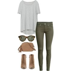 army green jeans by kcunningham1 on Polyvore featuring polyvore, fashion, style, Zara, H