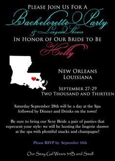 Bachelorette Party Invite, New Orleans, Bridal Shower, Lingerie Shower $3