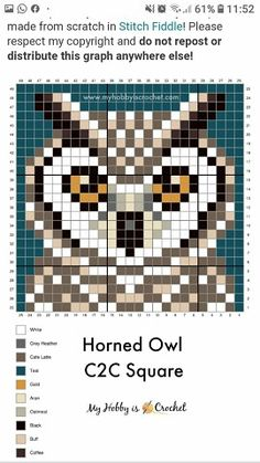 Mini Cross Stitch, Beaded Cross Stitch, Cross Stitch Animals, Cross Stitch Embroidery, Embroidery Patterns, Quilt Patterns, Crochet C2c Pattern, Crochet Chart, Cross Stitch Designs