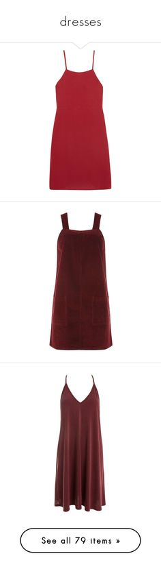 """dresses"" by harthkai on Polyvore featuring dresses, vestidos, red, short dresses, crepe dress, red crepe dress, red mini dress, short red dress, pinny dress and burgundy dress"