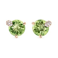 Ear pins Peekaboo rose gold 2 peridots (N) with round cut total ct., place of origin: Pakistan, 18 diamonds with brilliant cut total ct. Peridots, Fine Jewelry, Jewellery, 18k Rose Gold, The Fresh, Confident, Pakistan, Diamonds, Delicate