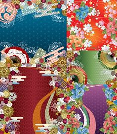 Japanese style and wind pattern background fan day wind vector