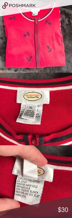Talbots cruise wear zipper sweater with anchors Cute talbots red & navy cruise wear sweater with cute little anchors Talbots Sweaters