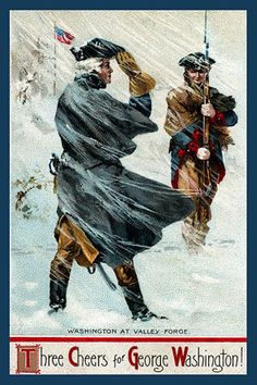 George Washington at Valley Forge - 1910 Postcard. Printed on cotton. Ready to sew.  Single 4x6 block $4.95.